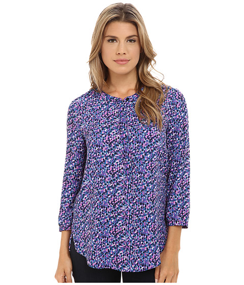 NYDJ - Solid 3/4 Sleeve Pleat Back (Violet Afterglow Black) Women's Blouse