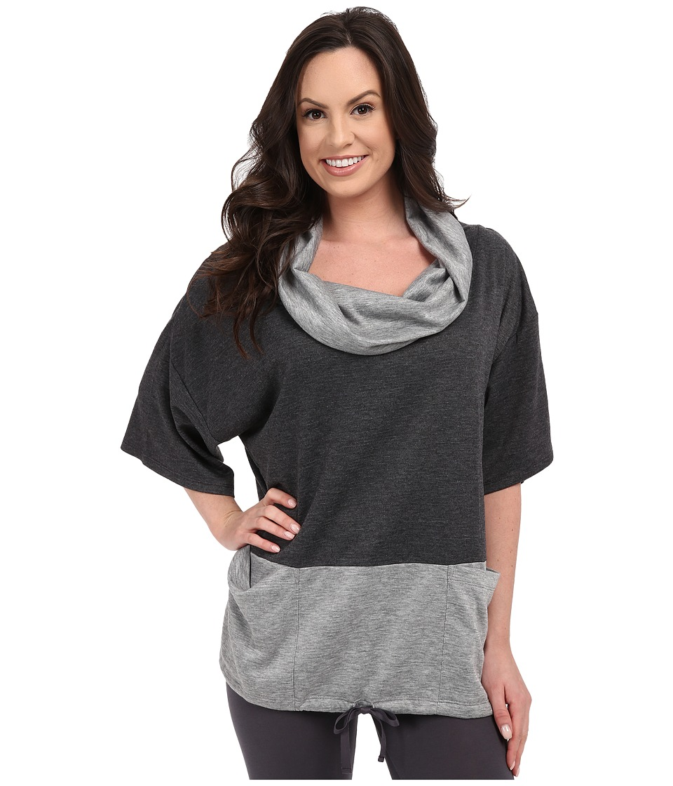 Midnight by Carole Hochman - Lounge Funnel Neck Top (Charcoal Heather/Heather Grey) Women's Pajama