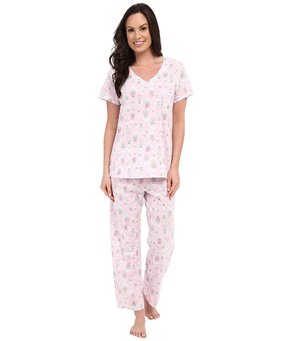 Carole Hochman - Cotton Printed Capris Pajama (Watering Flowers) Women's Pajama Sets