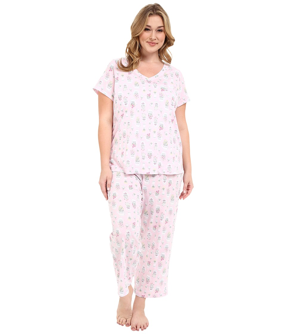 Carole Hochman - Plus Size Cotton Printed Capris Pajama (Watering Flowers) Women