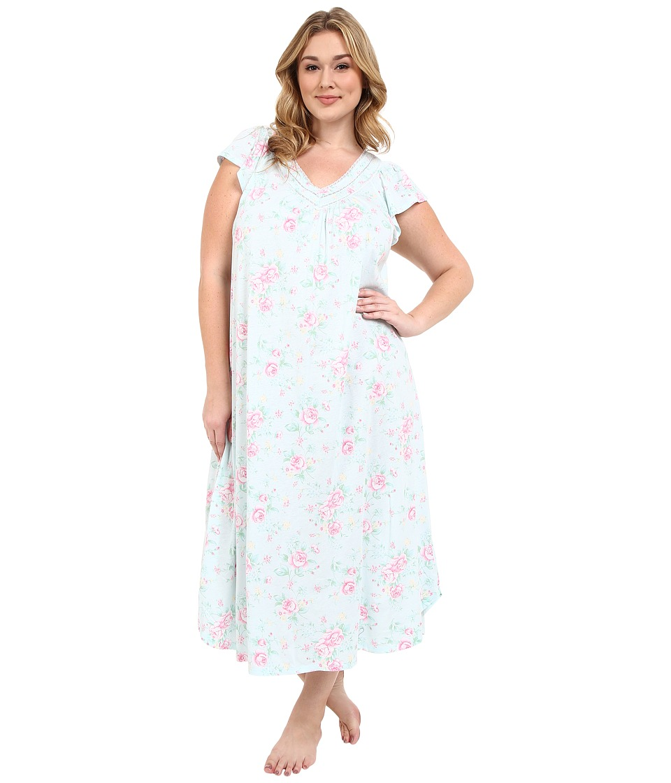 Carole Hochman - Plus Size Floral Long Gown (Cottage Blue) Women's Pajama