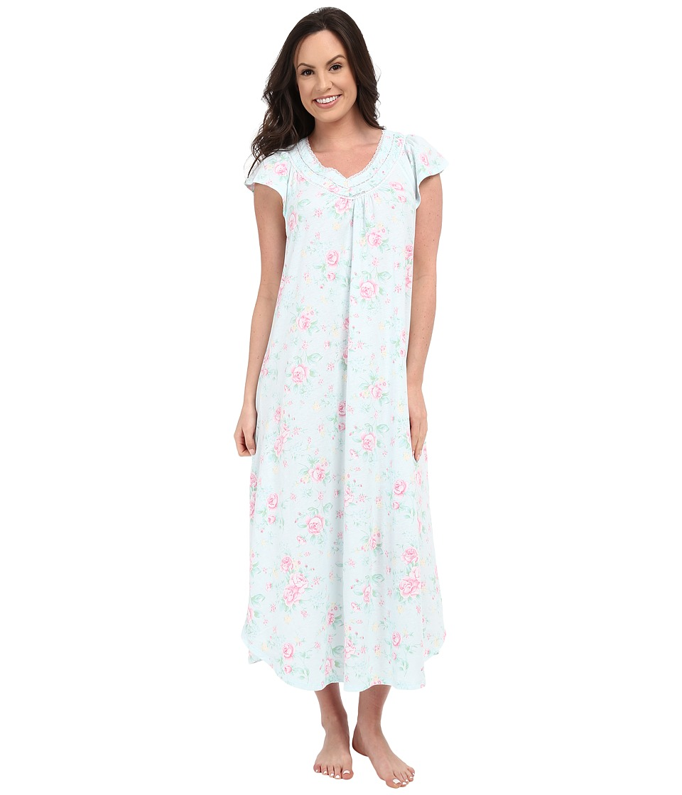 Carole Hochman - Floral Long Gown (Cottage Blue) Women's Pajama