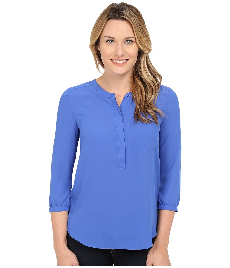 NYDJ - Solid 3/4 Sleeve Pleat Back (Ultramarine) Women's Blouse