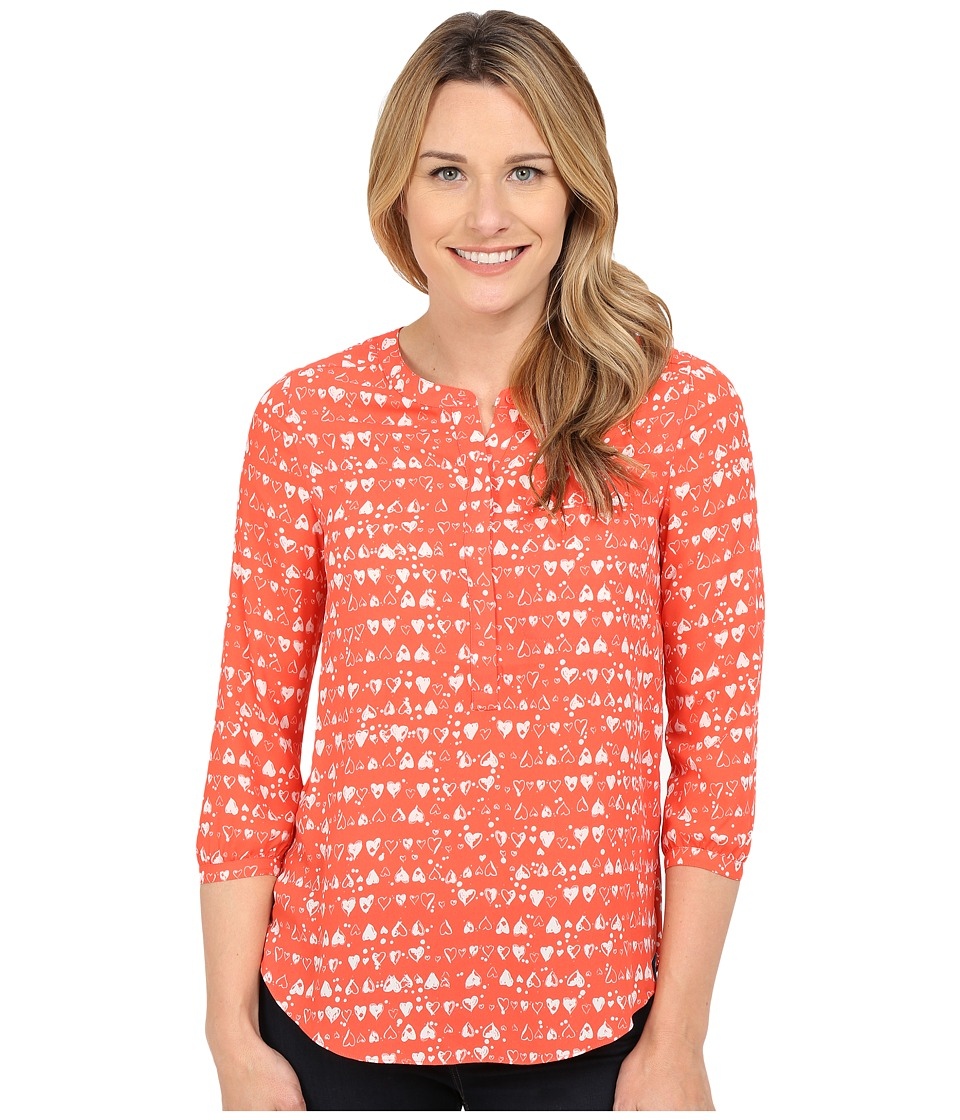 NYDJ - Solid 3/4 Sleeve Pleat Back (Clear Sentiments Ciana Coral) Women's Blouse
