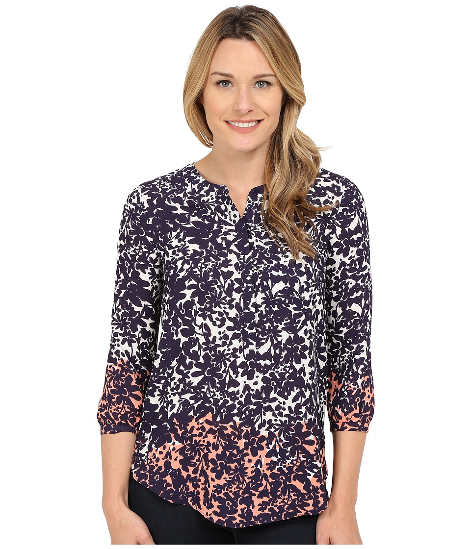 NYDJ - Solid 3/4 Sleeve Pleat Back (Night Bloom Navy) Women's Blouse