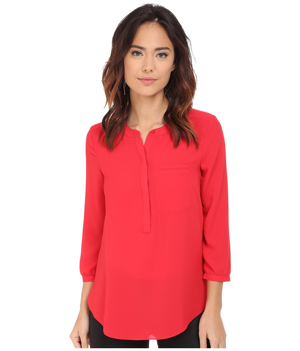 NYDJ - Solid 3/4 Sleeve Pleat Back (Lollipop) Women's Blouse