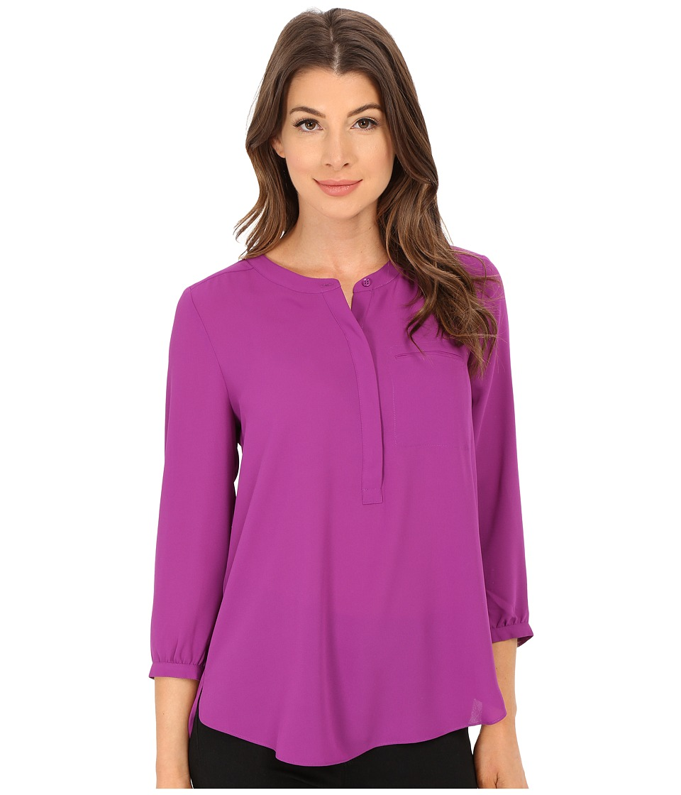 NYDJ - Solid 3/4 Sleeve Pleat Back (Purple Haze) Women's Blouse