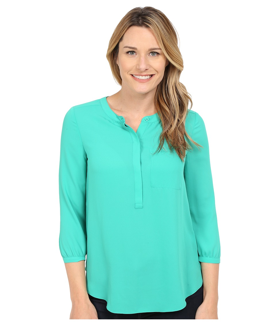 NYDJ - Solid 3/4 Sleeve Pleat Back (Sea Green) Women's Blouse