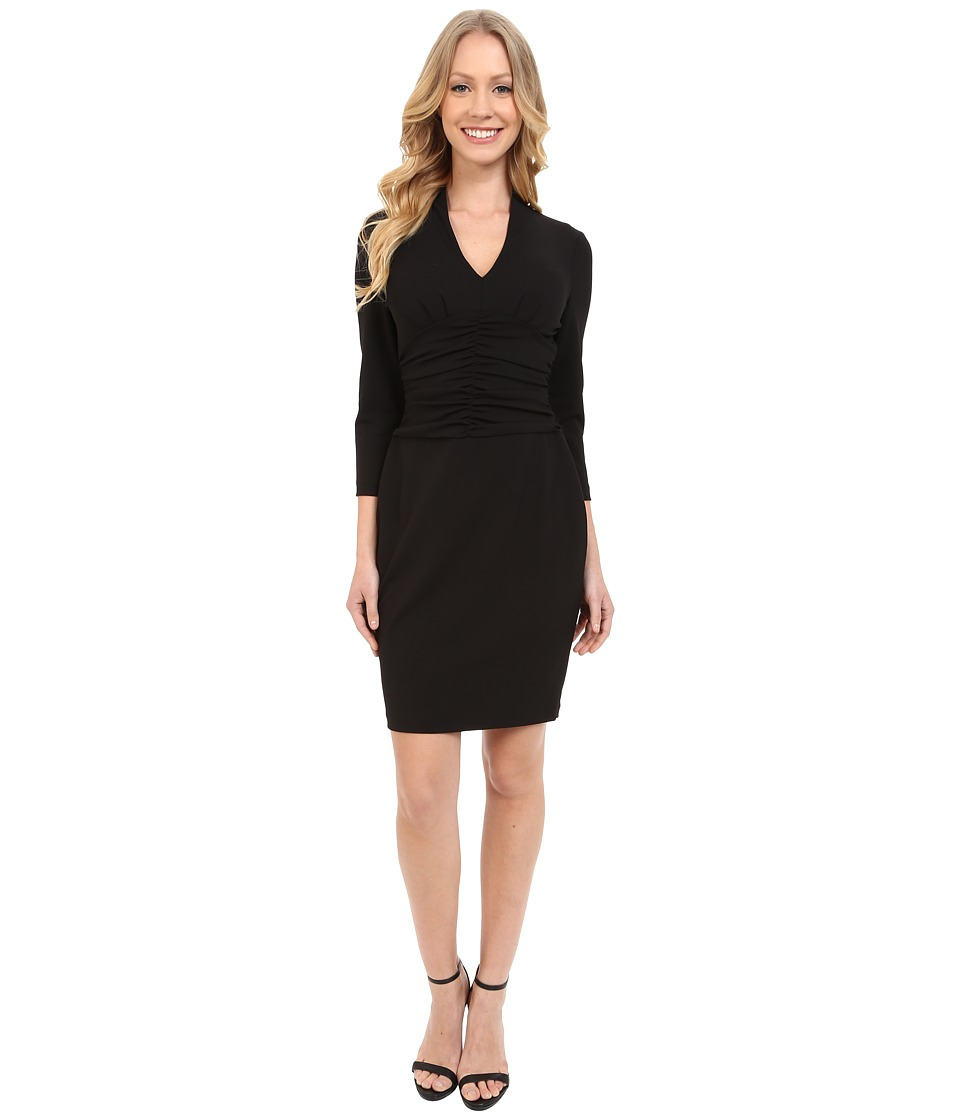 NYDJ - Ruched Side Stretch Crepe Dress (Black) Women's Dress