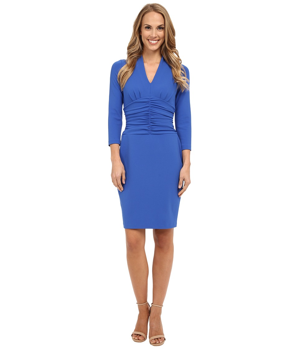 NYDJ - Ruched Side Stretch Crepe Dress (Neoprene Blue) Women's Dress