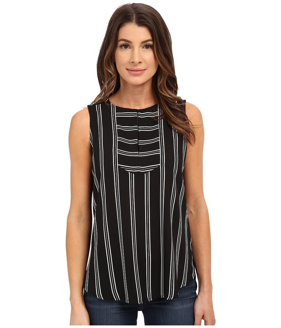 NYDJ - Sleeveless Striped Tee (Elaine Stripe Black) Women