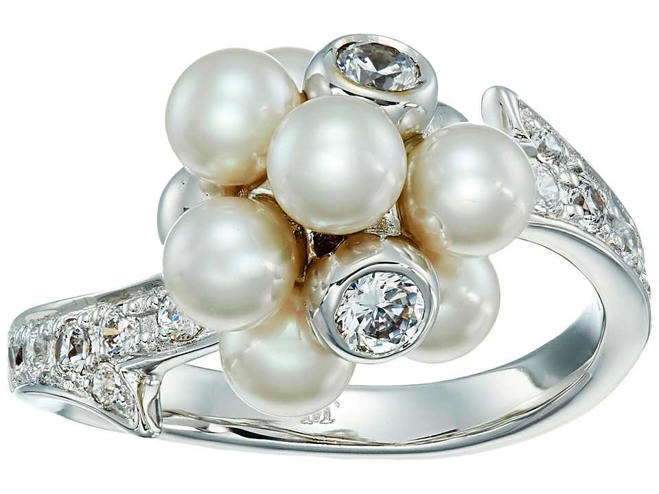 Majorica - Holly Pearl CZ Cluster Ring (Silver/White) Ring