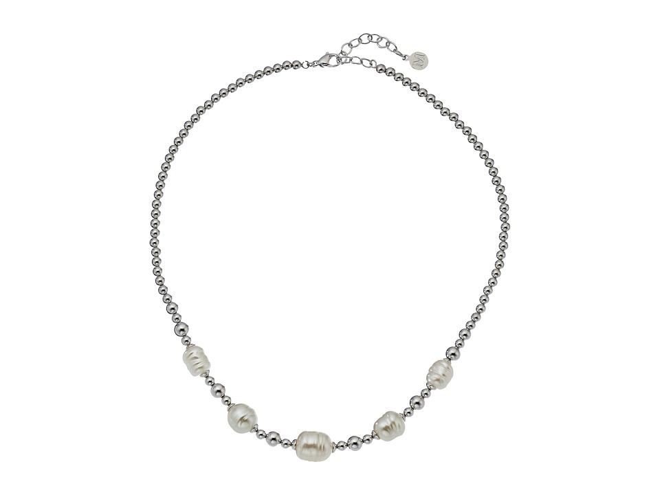 Majorica - Allison Baroque Bead Necklace (Silver/White) Necklace