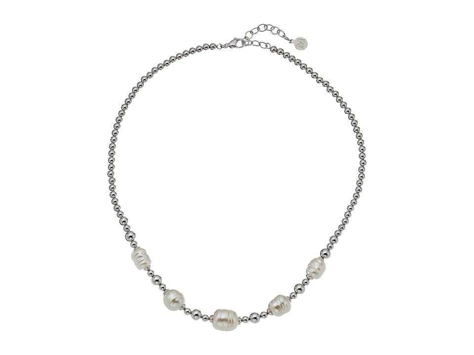 Majorica - Allison Baroque Bead Necklace (Silver/White) Necklace