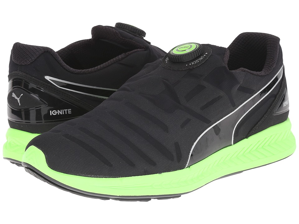 PUMA - Ignite Disc (Black/Green Gecko) Men's Shoes