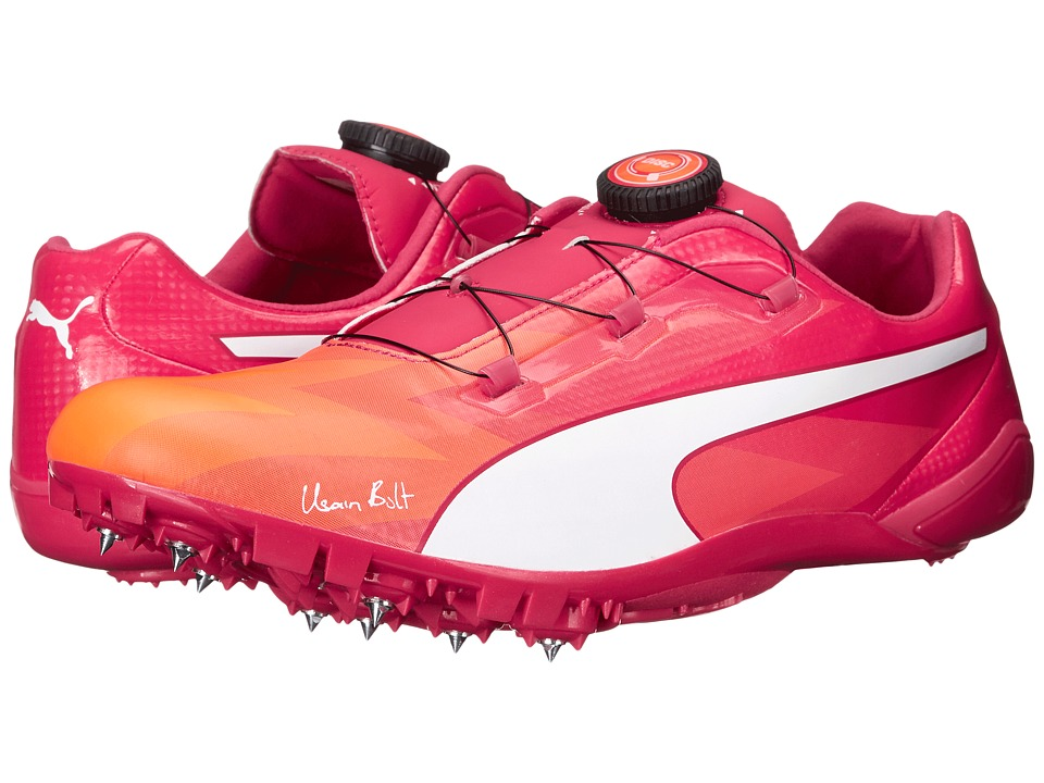 PUMA - Bolt Evospeed Disc (Fluo Peach/Rose Red) Men's Shoes