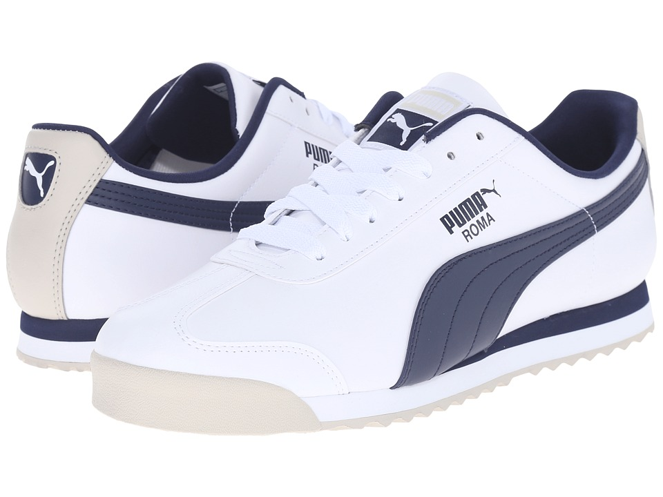 PUMA - Roma Basic (White/Peacoat/Oatmeal) Men's Shoes