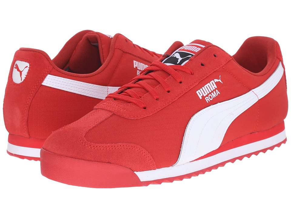 PUMA - Roma Ripstop Suede (Flame Scarlet/Flame Scarlet/White) Men's Shoes