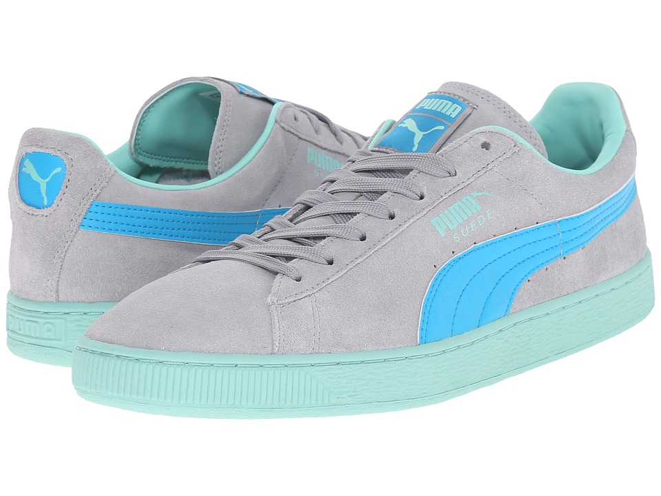 PUMA - Suede Classic+ LFS (Limestone Gray/Atomic Blue/Holiday) Men's Lace up casual Shoes