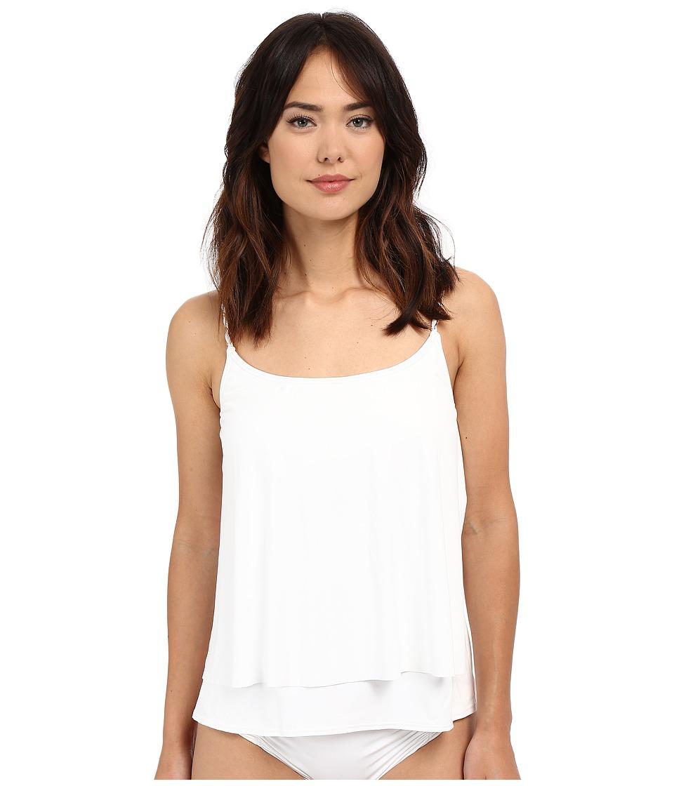 MICHAEL Michael Kors - Chain Solids Layered Tankini Top (White) Women's Swimwear