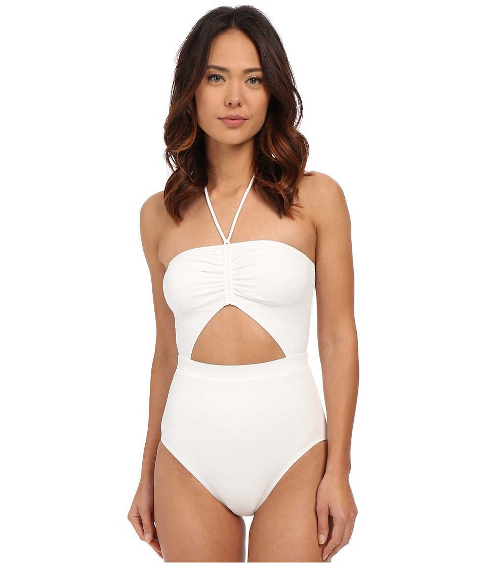 MICHAEL Michael Kors - Draped Solids Halter Maillot One-Piece (White) Women's Swimsuits One Piece