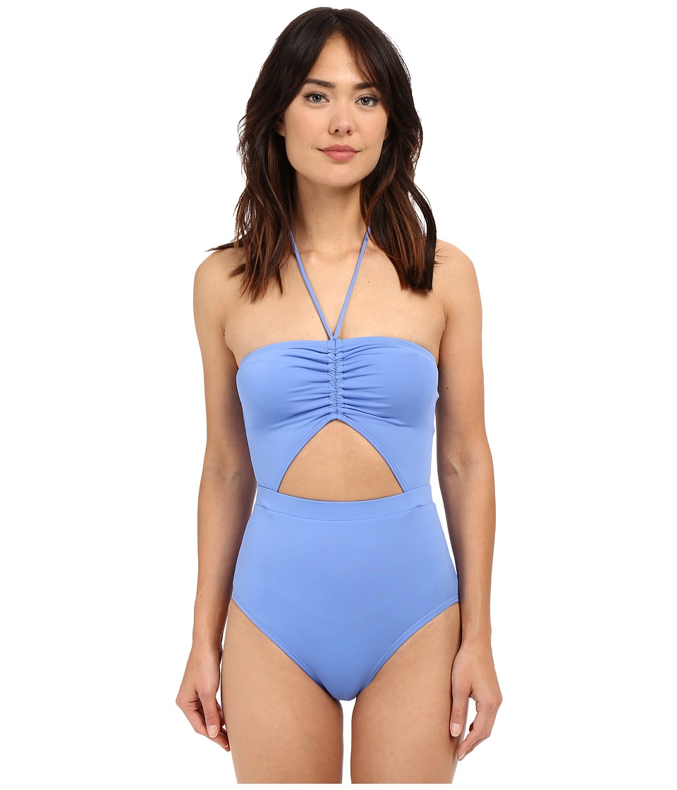 MICHAEL Michael Kors - Draped Solids Halter Maillot One-Piece (Crew Blue) Women's Swimsuits One Piece