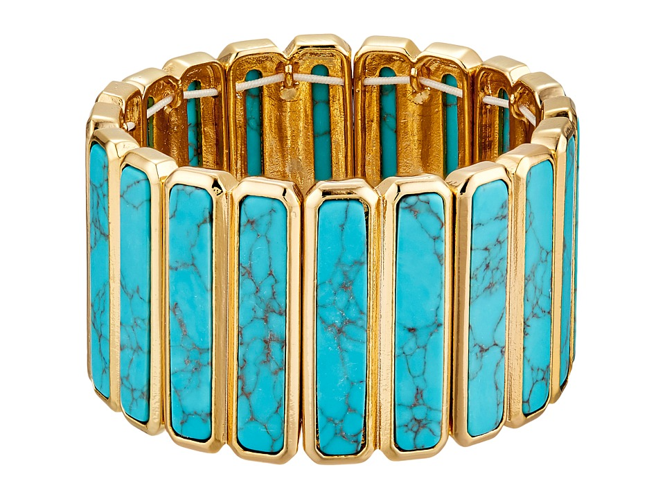 LAUREN by Ralph Lauren - Under the Sea Elongated Stone Stretch Bracelet (Gold/Turquoise) Bracelet