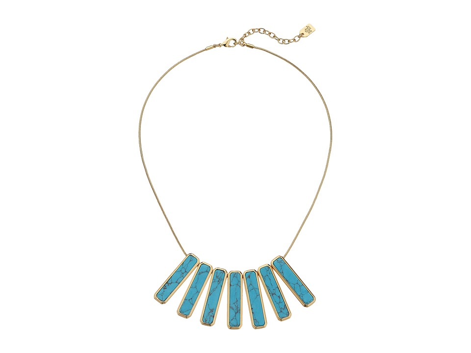 LAUREN by Ralph Lauren - Under the Sea 16 Rectangular Stone Frontal Necklace (Gold/Turquoise) Necklace