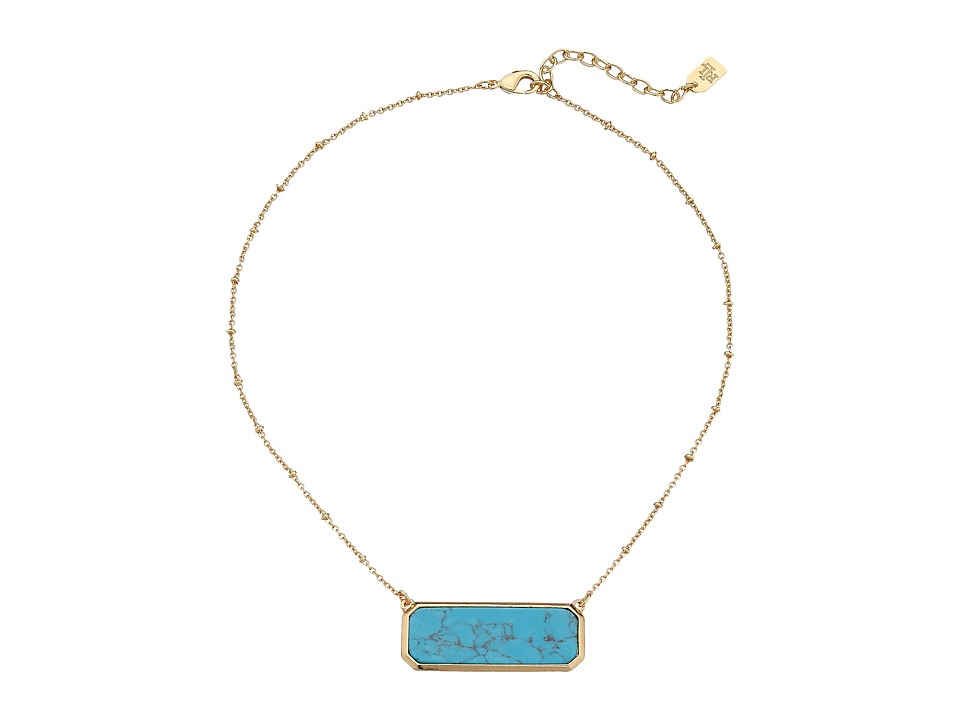 LAUREN Ralph Lauren - Under the Sea 16 Rectangular Stone Pendant Necklace (Gold/Turquoise) Necklace