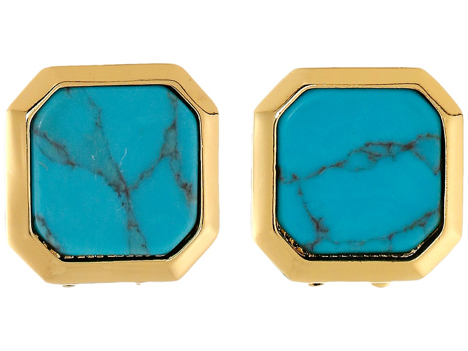 LAUREN by Ralph Lauren - Under the Sea Square Stone Clip Earrings (Gold/Turquoise) Earring