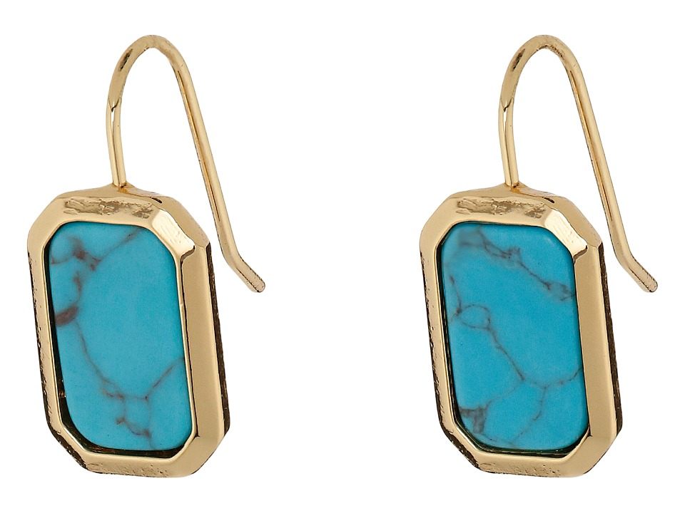 LAUREN Ralph Lauren - Under the Sea Rectangular Stone Drop Earrings (Gold/Turquoise) Earring