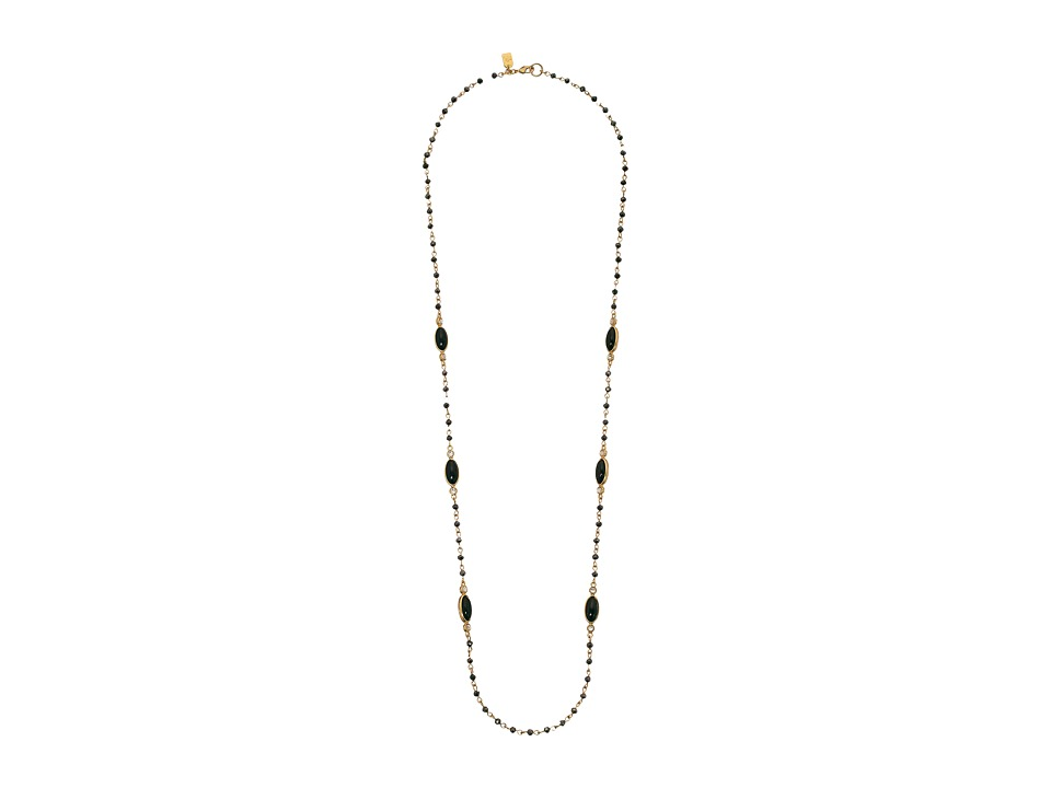 LAUREN Ralph Lauren - Modern Landscape 34 Rosary Link Oval Stone Necklace (Black/Gold) Necklace