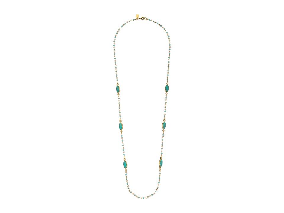 LAUREN Ralph Lauren - Modern Landscape 34 Rosary Link Oval Stone Necklace (Turquoise/Gold) Necklace