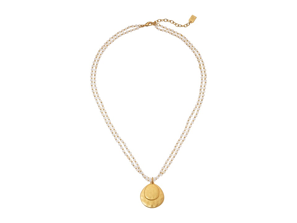 LAUREN Ralph Lauren - Modern Landscape 18 2 Row Small Bead Pendant Necklace (Mother-of-Pearl Gold) Necklace