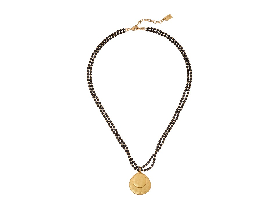 LAUREN Ralph Lauren - Modern Landscape 18 2 Row Small Bead Pendant Necklace (Black/Gold) Necklace