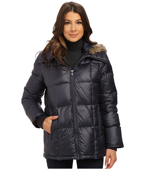 Kenneth Cole New York - Cheveron Quilt Down Jacket w/ Faux Fur Trim Hood (Navy) Women's Coat