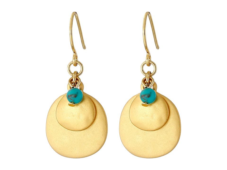 LAUREN Ralph Lauren - Modern Landscape Hammered Disk Cluster Earrings (Gold/Turquoise) Earring
