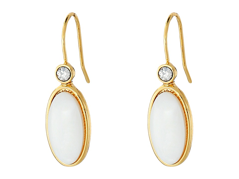 LAUREN Ralph Lauren - Modern Landscape Oval Stone Drop Earrings (Mother-of-Pearl/Crystal/Gold) Earring