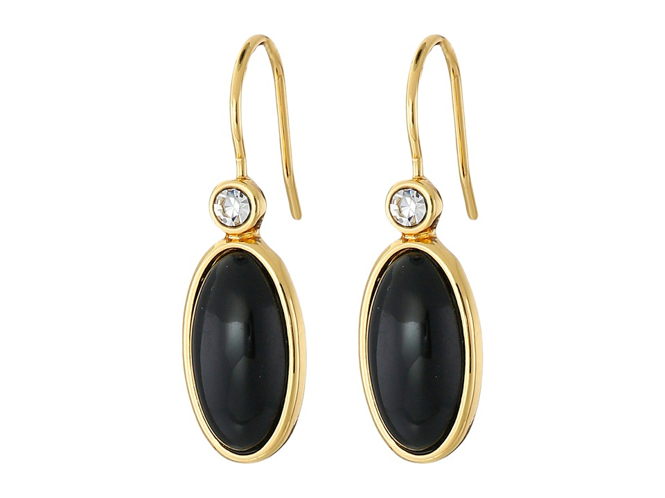 LAUREN Ralph Lauren - Modern Landscape Oval Stone Drop Earrings (Black/Crystal/Gold) Earring