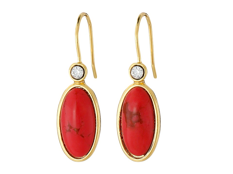 LAUREN Ralph Lauren - Modern Landscape Oval Stone Drop Earrings (Coral/Crystal/Gold) Earring