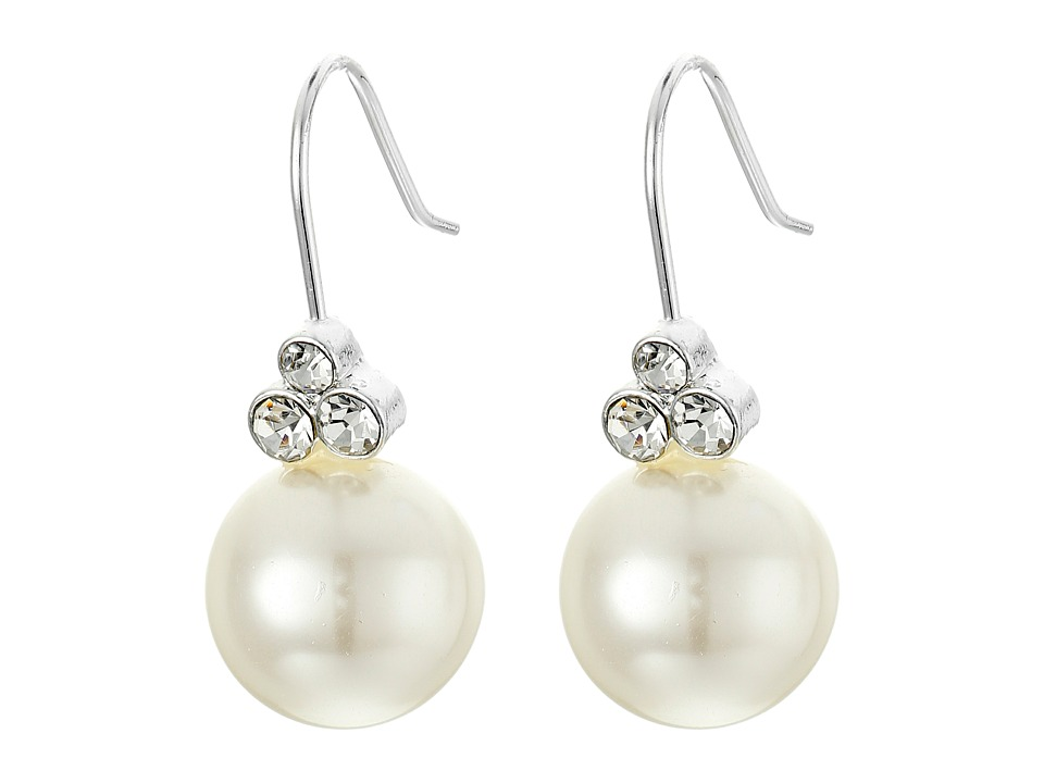LAUREN Ralph Lauren - Ear Candy 12mm Pearl Crystal Trio Drop Earrings (White Pearl/Crystal) Earring