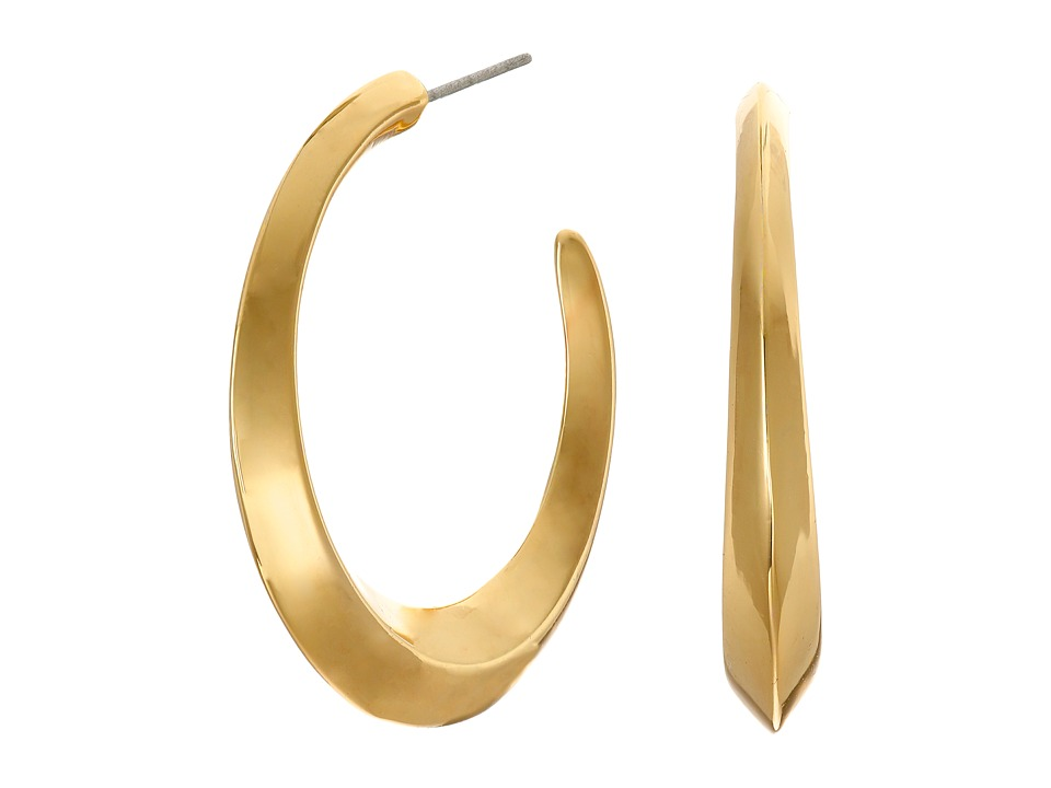 LAUREN Ralph Lauren - Luxe Links Medium Knife Edge Hoop Earrings (Gold) Earring