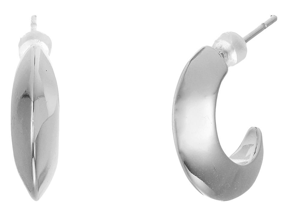 LAUREN Ralph Lauren - Luxe Links Small Knife Edge Hoop Earrings (Silver) Earring