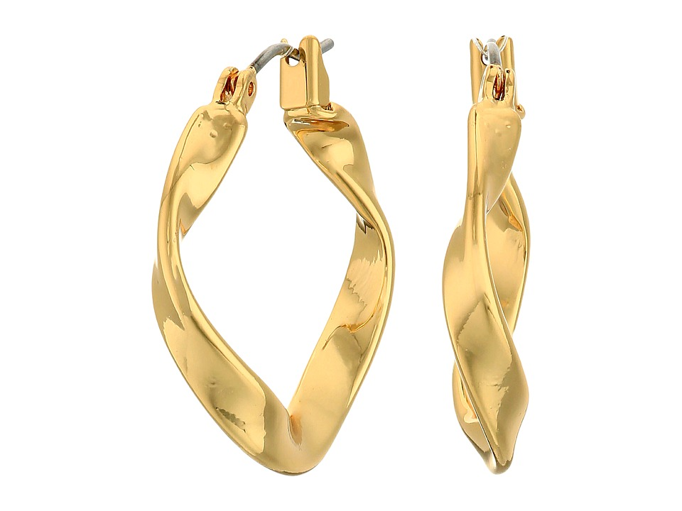 LAUREN Ralph Lauren - Retro Links Small Twisted Hoop Earrings (Gold) Earring