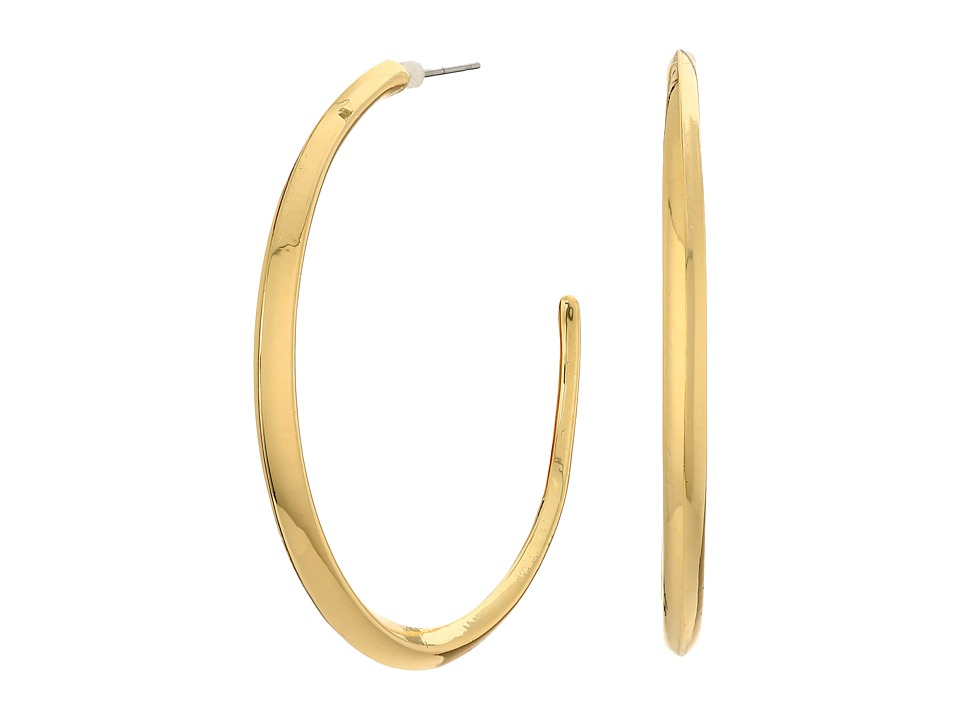 LAUREN Ralph Lauren - Luxe Links Large Knife Edge Hoop Earrings (Gold) Earring