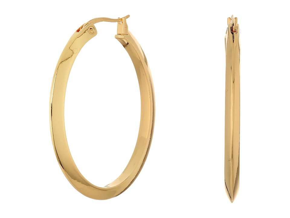 LAUREN Ralph Lauren - Luxe Links Large Oval Knife Edge Hoop Earrings (Gold) Earring