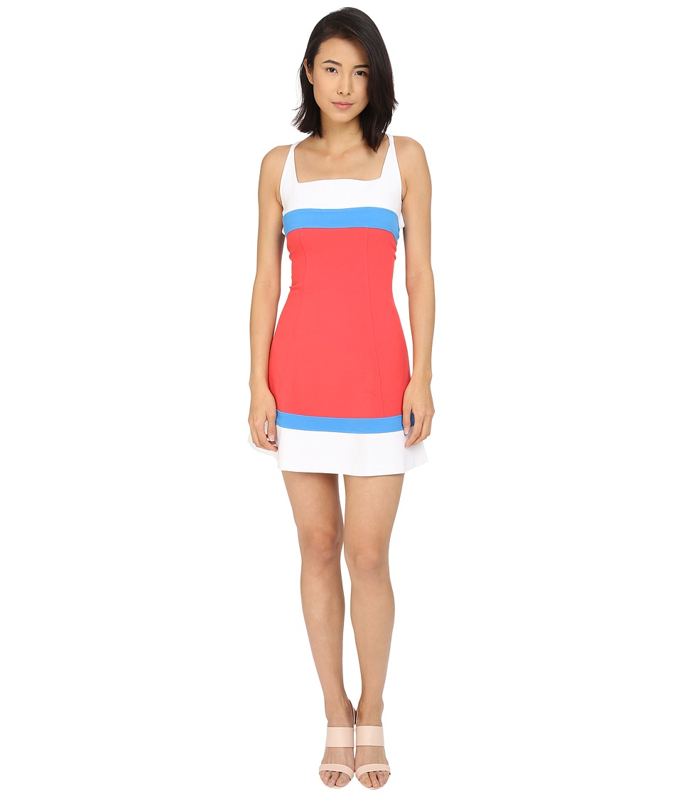 DSQUARED2 - Micro Piquet Compact Fit and Flare Dress (Coral/Blue/White) Women's Dress