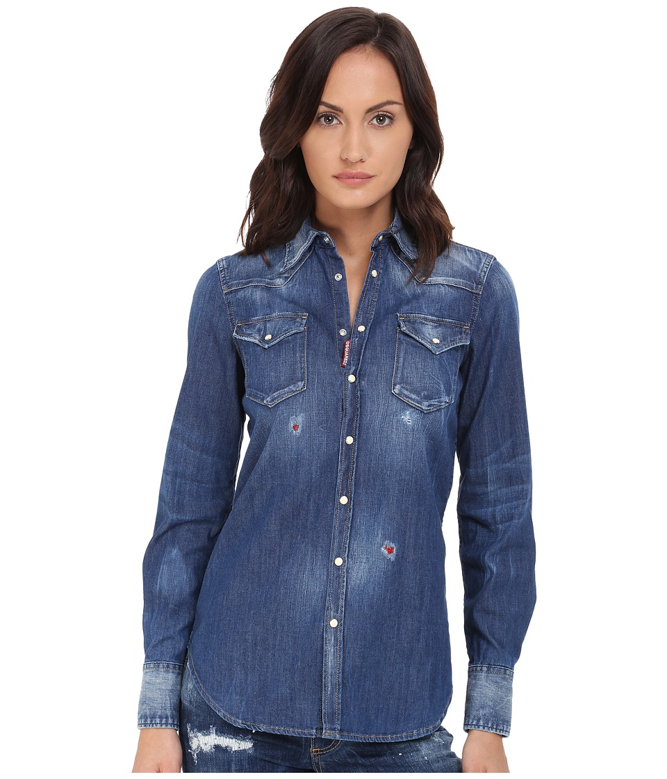 DSQUARED2 - Western Shirt (Blue) Women's Long Sleeve Button Up