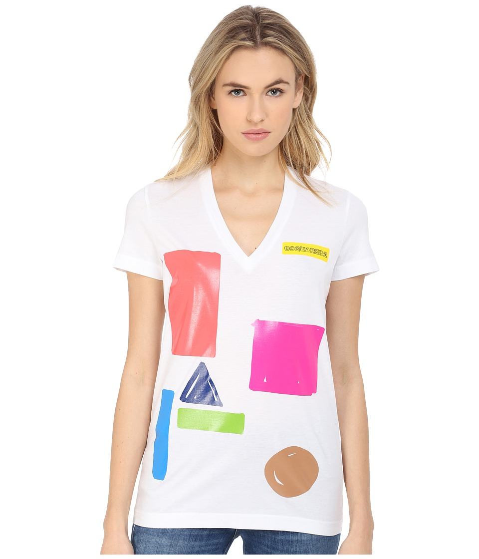 DSQUARED2 - The Fit V-Neck Tee (White) Women's T Shirt