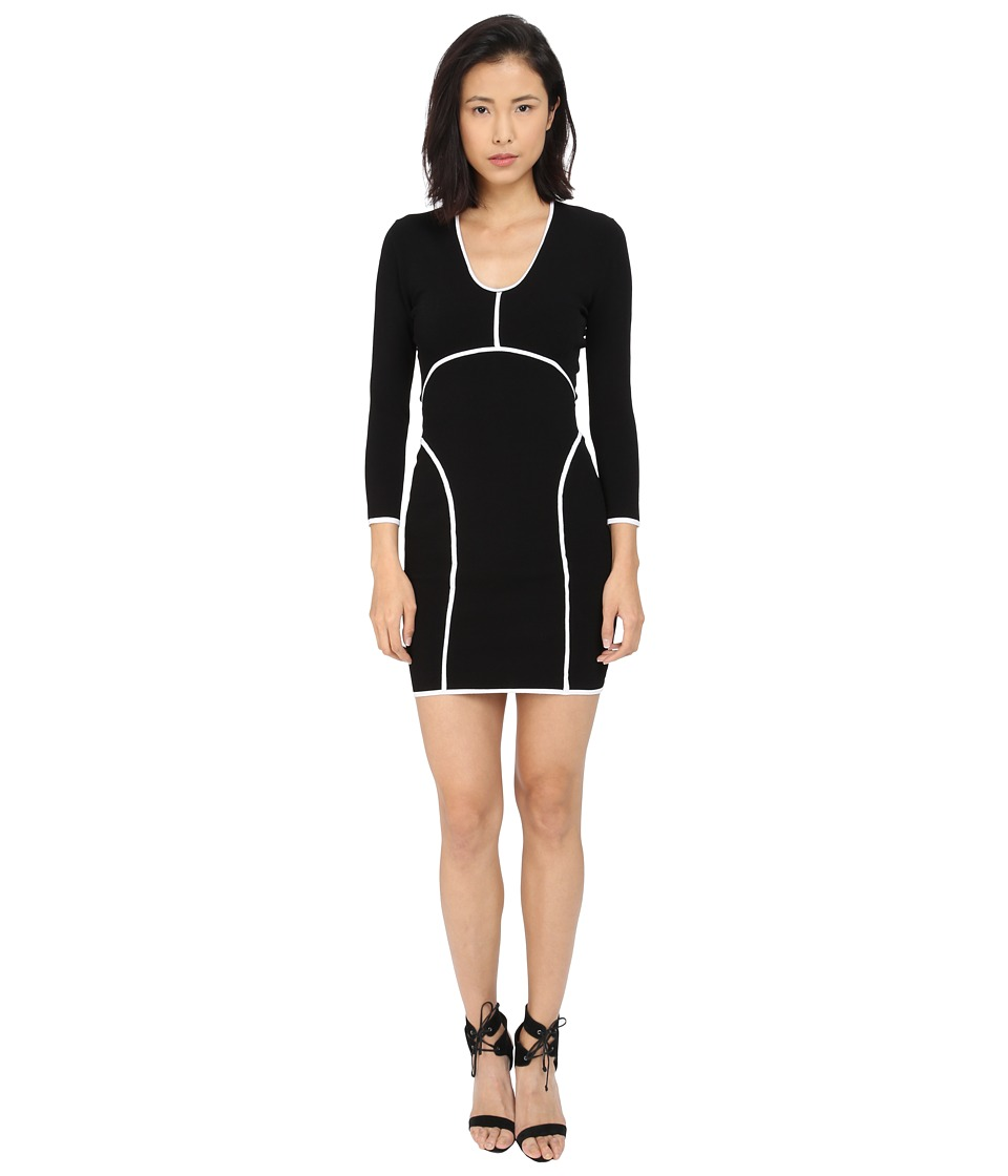 DSQUARED2 - Long Sleeve V-Neck Dress (Black/Off-White) Women's Dress